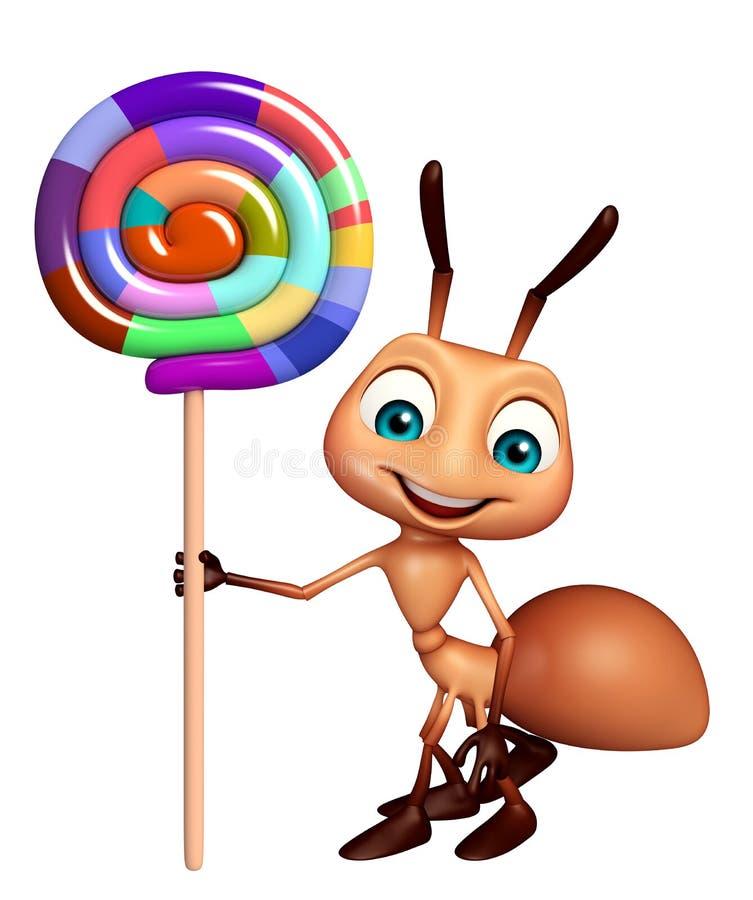 Ameisenzeichentrickfilm-figur mit lollypop vektor abbildung