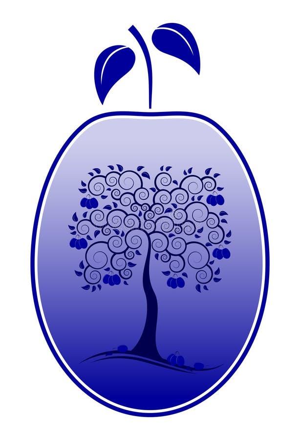 Ameixa com a decoração da árvore de ameixa ilustração do vetor