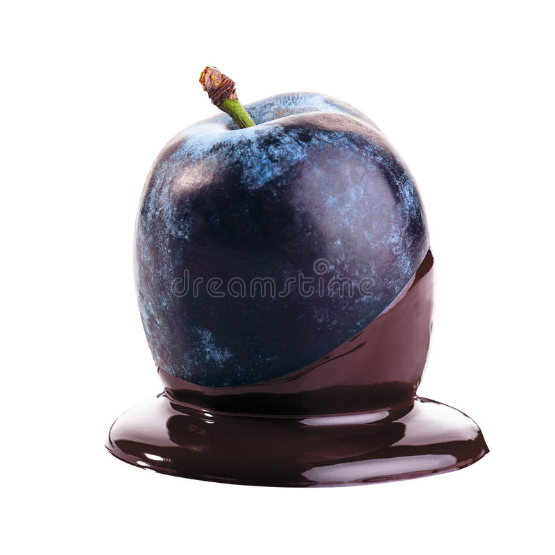 Ameixa no chocolate foto de stock