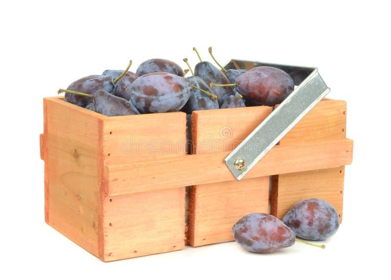 Ameixas frescas em uma caixa de madeira imagens de stock