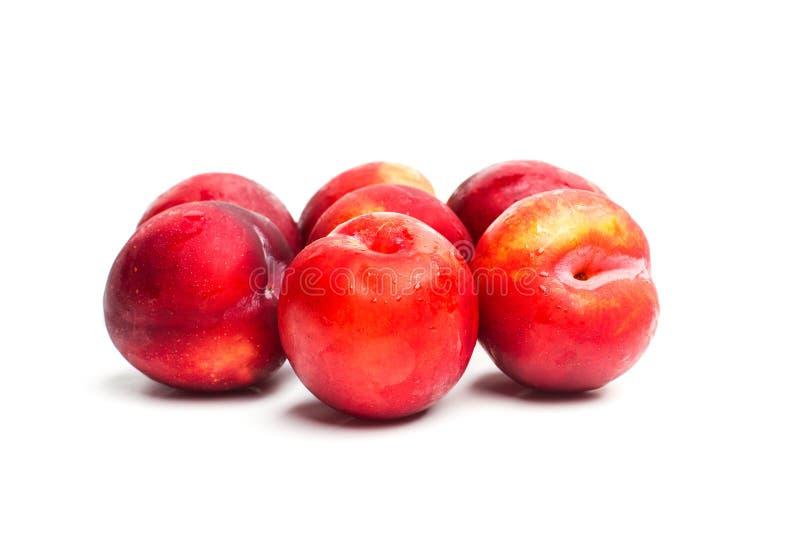 Ameixas vermelhas em um fim acima da vista foto de stock royalty free