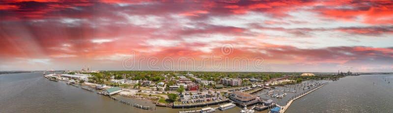Amelia Islan, Fernandina Beach, Florida. Aerial panoramic view a. T sunset stock photo