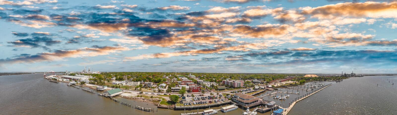 Amelia Islan, Fernandina Beach, Florida. Aerial panoramic view a. T sunset royalty free stock photo