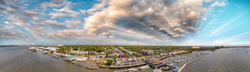 Amelia Islan, Fernandina Beach, Florida. Aerial panoramic view a. T sunset royalty free stock images