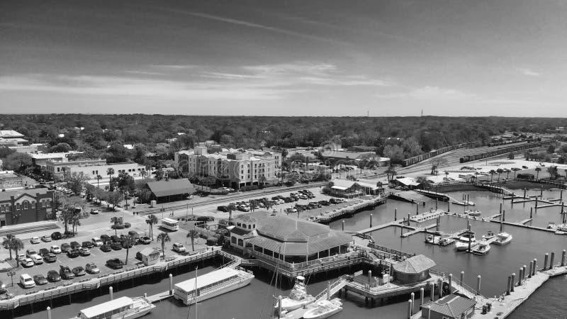 Amelia Island, Fernandina Beach, Florida. Aerial view on a sunny. Day royalty free stock photo