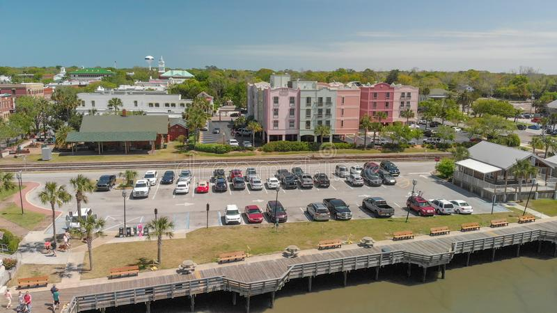 AMELIA ISLAND, FL - APRIL 1, 2018: Coastline of Fernandina Beach. Aerial view. This is a famous attraction for tourists in Florida royalty free stock image
