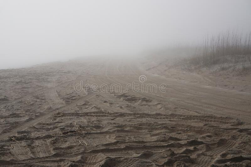 Amelia Island, Florida, USA: Tire tracks in the sand at mist-covered American Beach stock photo