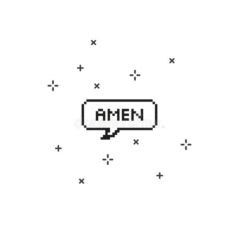 Amen i konst för PIXEL för bit för anförandebubbla 8 royaltyfri illustrationer
