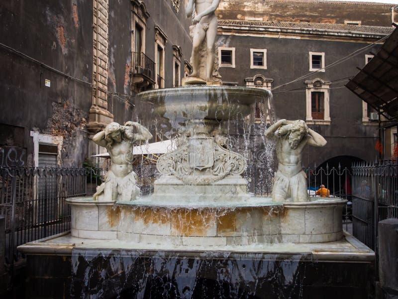 Amenano fontanna w Catania, Włochy zdjęcie royalty free