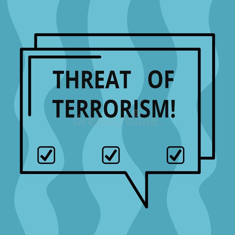 Amenaza conceptual de la demostración de la escritura de la mano del terrorismo Foto del negocio que muestra violencia y la intim ilustración del vector