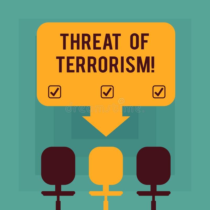 Amenaza conceptual de la demostración de la escritura de la mano del terrorismo Violencia e intimidación ilegales del uso del tex libre illustration