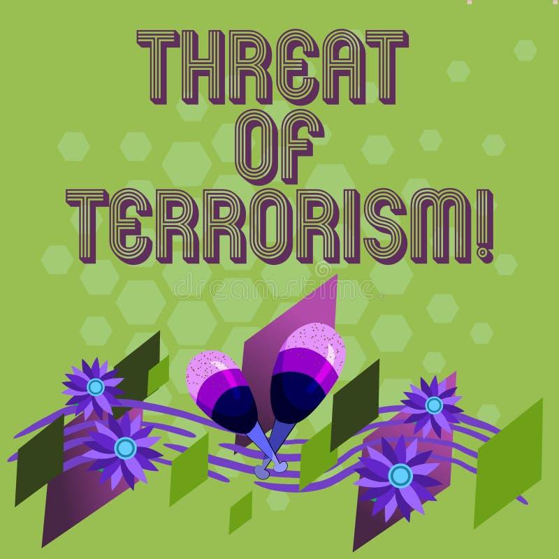 Amenaza de la demostración de la muestra del texto del terrorismo Violencia e intimidación ilegales del uso de la foto conceptual ilustración del vector