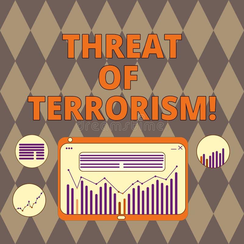 Amenaza de la escritura del texto de la escritura del terrorismo Violencia e intimidación ilegales del uso del significado del co ilustración del vector