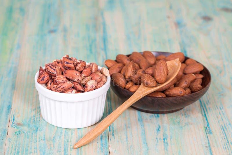 Amendoim e amêndoas do tigre na bacia imagem de stock