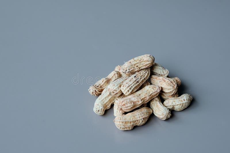 Amendoim orgânico no fundo azul imagem de stock royalty free