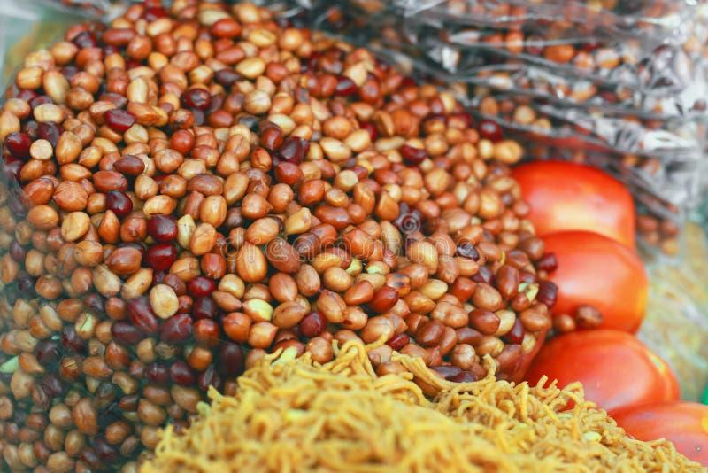 Amendoins fritados, fim acima, imagens de stock royalty free