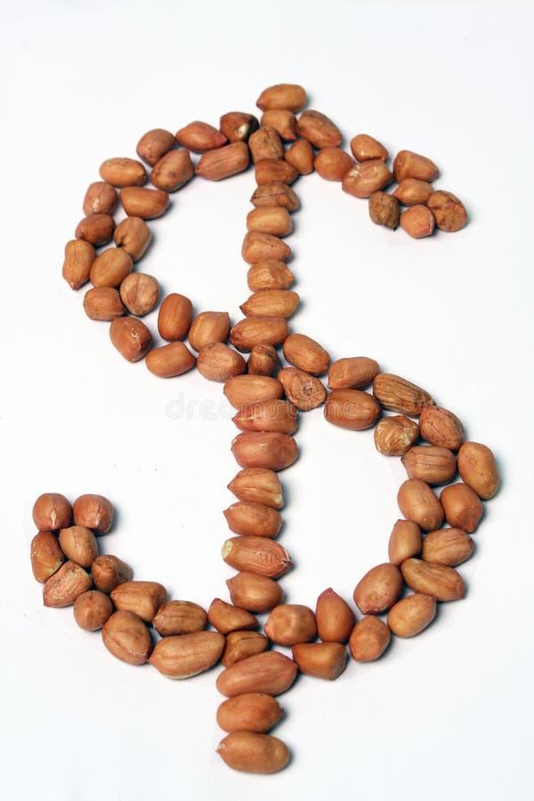 Amendoins pagos em vez dos dólares imagens de stock royalty free