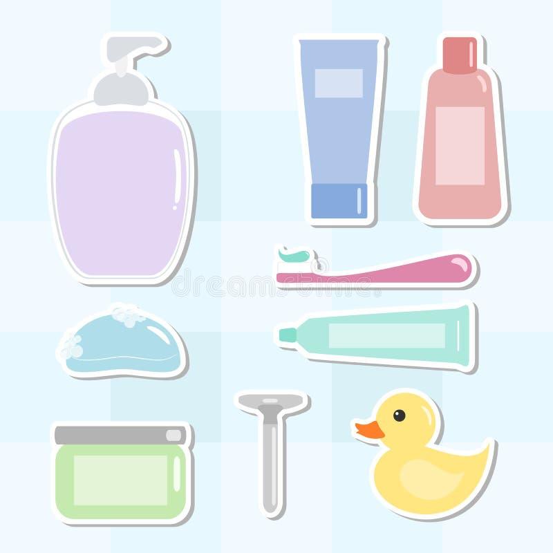 Amenidades del baño fijadas ilustración del vector