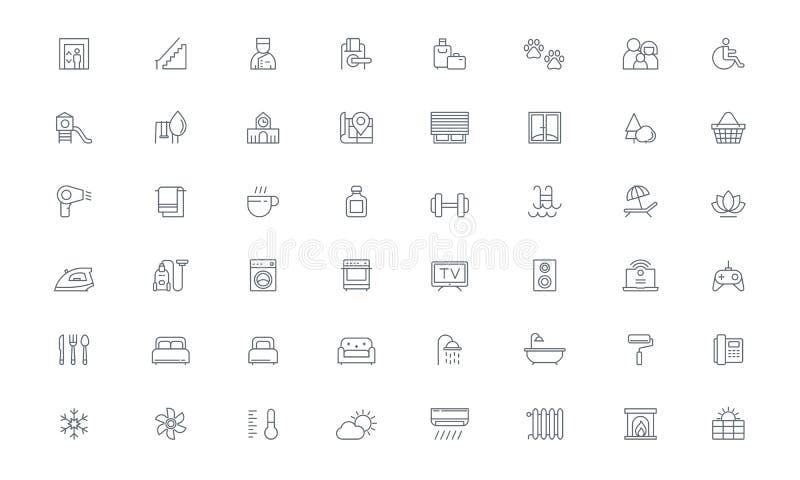Amenidades, habitación, línea iconos del vector de las propiedades inmobiliarias ilustración del vector