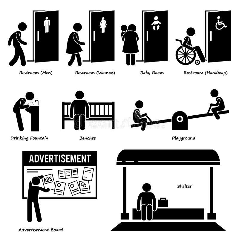 Amenidades públicas e instalaciones ilustración del vector