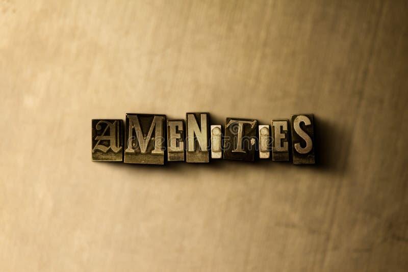 AMENIDADES - primer de la palabra compuesta tipo vintage sucio en el contexto del metal stock de ilustración
