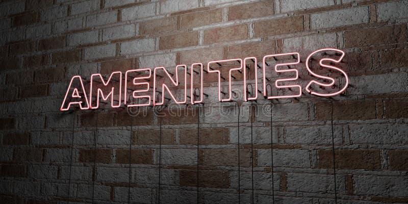 AMENIDADES - Señal de neón que brilla intensamente en la pared de la cantería - 3D rindió el ejemplo común libre de los derechos stock de ilustración