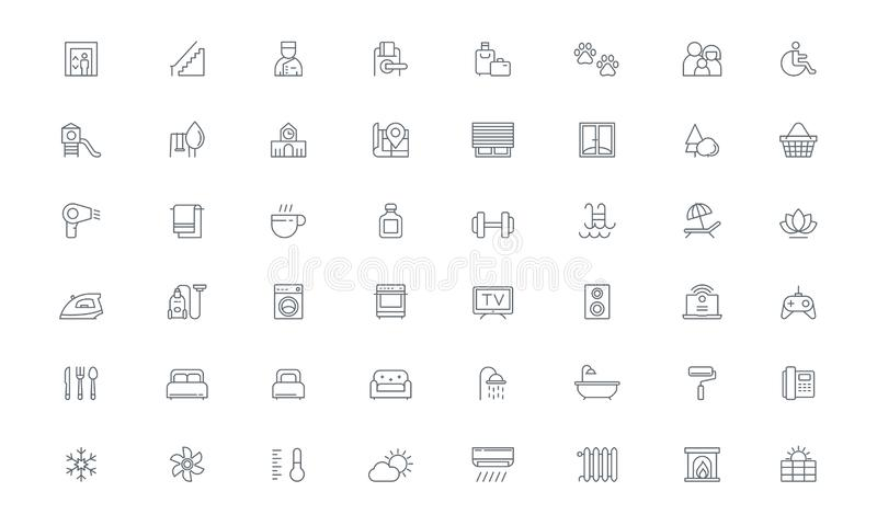 Amenities, Hotel room, Real estate Vector line icons vector illustration