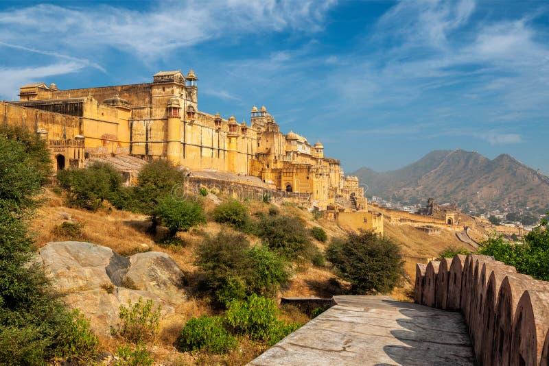 Amer aka bärnstensfärgat fort, Rajasthan, Indien royaltyfria foton