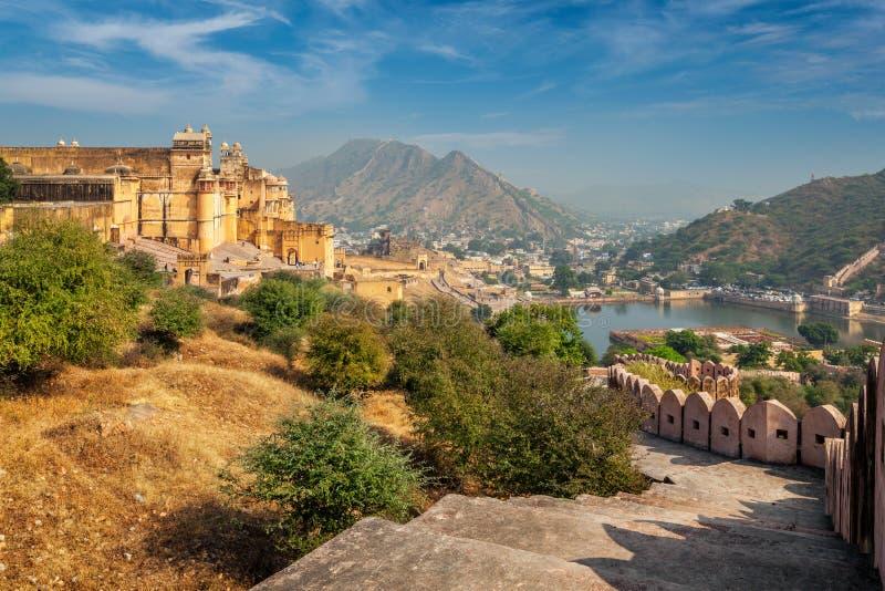 Amer aka bärnstensfärgat fort, Rajasthan, Indien royaltyfri bild