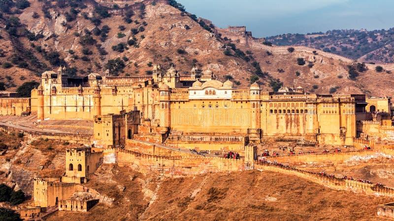 Amer aka bärnstensfärgat fort, Rajasthan, Indien arkivbilder