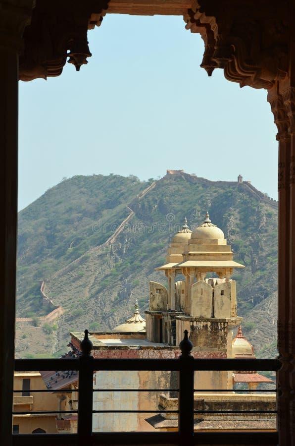 Amer (bursztyn) fort lub pałac, nr Jaipur, India obraz royalty free