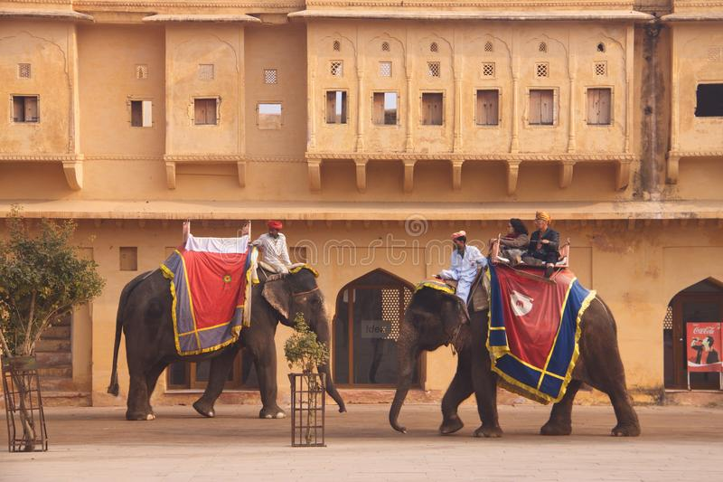 Amer Fort, Jaipur, Rajastan, India 2012, 2 Januari, stock afbeelding
