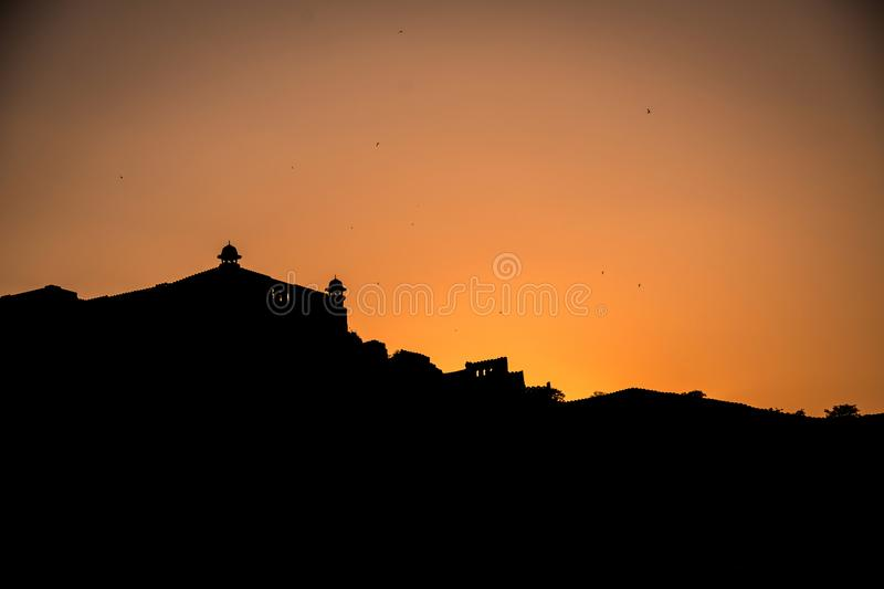 Amer Fort-silhouet royalty-vrije stock afbeelding