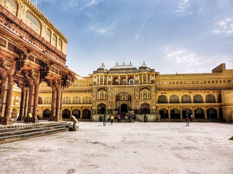Amer slott av jaipur Indien arkivfoto