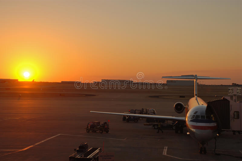Amercan Airlines Jumbo Jet at Sunset royalty free stock photo