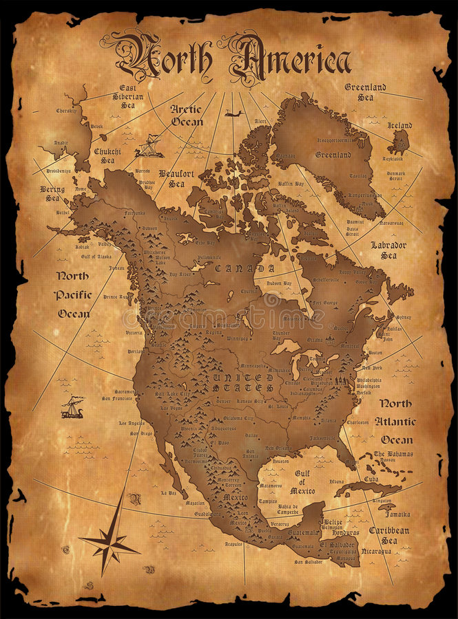 America. The vintage map of North America