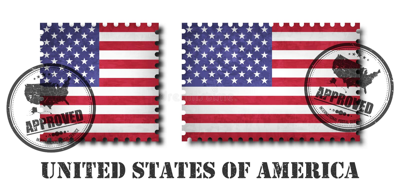 America or american flag pattern postage stamp with grunge old scratch texture and affix a seal on isolated background . Black col vector illustration