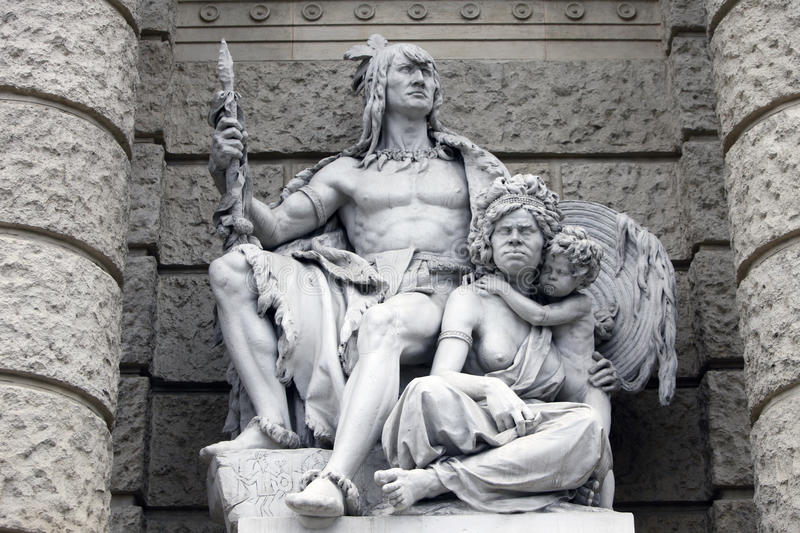America and Australia, statues depicting personifications of the continents. Naturhistorisches Museum, Vienna royalty free stock image