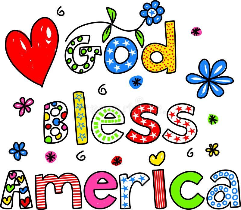 america błogosławi bóg ilustracja wektor
