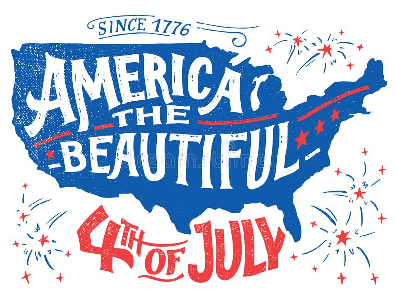 America the beautiful Fourth of July greeting card stock image