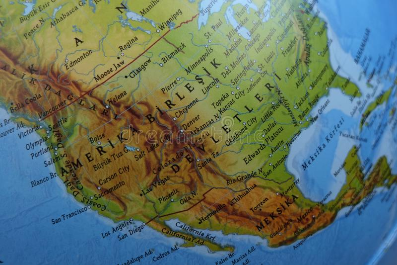 America Centered Physical World Map. Highly detailed  illustration of Physical World Map royalty free stock image