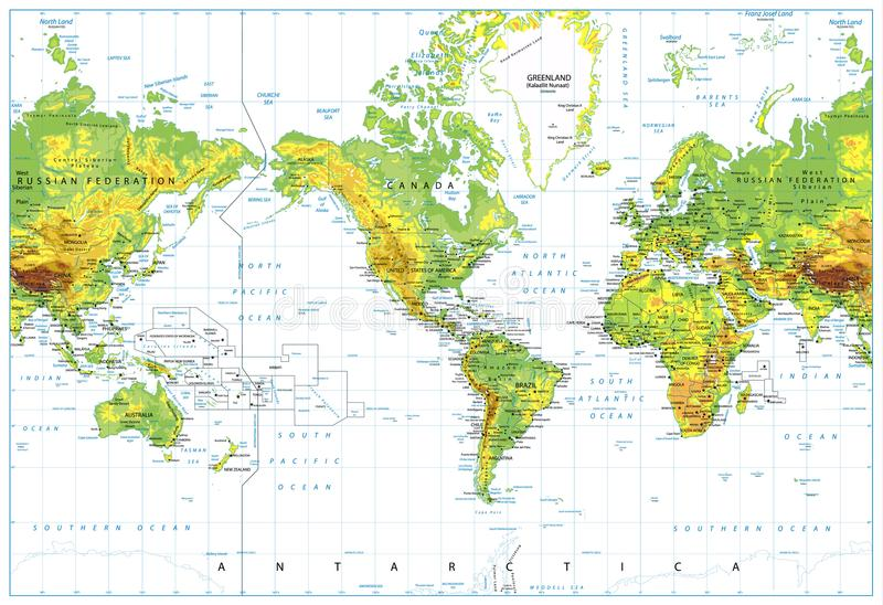 America centered physical world map isolated on white stock vector america centered physical world map isolated on white highly detailed illustration of physical world map gumiabroncs Gallery