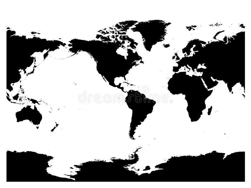 America centered world map. High detail black silhouette on white background. Vector illustration stock illustration