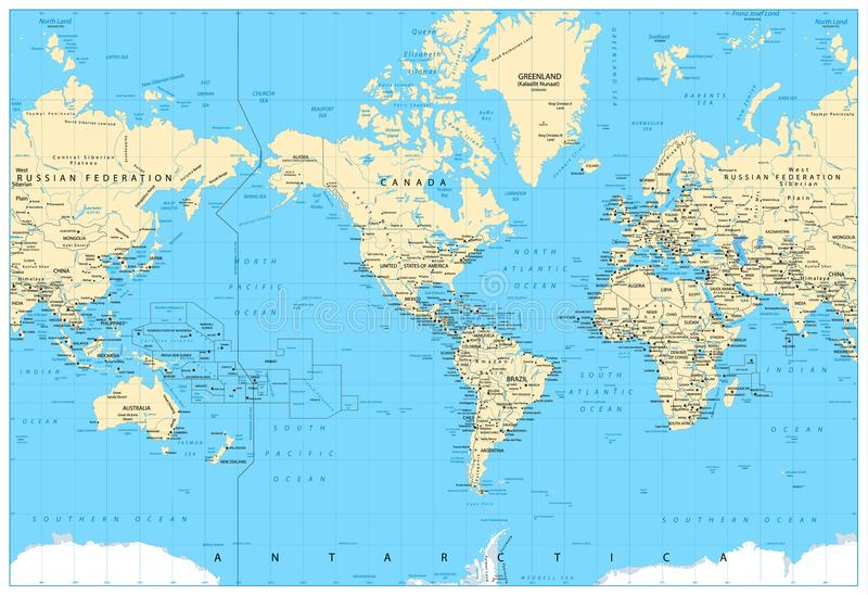 America Centered World Map. Highly detailed illustration of Physical World Map vector illustration