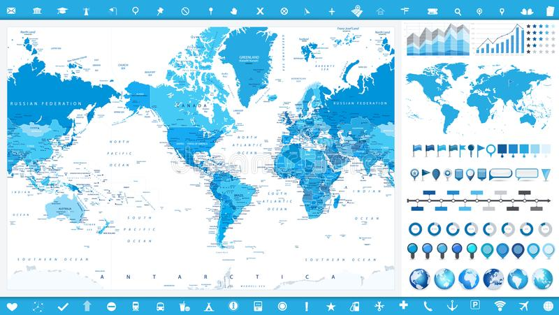 America Centered World Map and infographic elements vector illustration