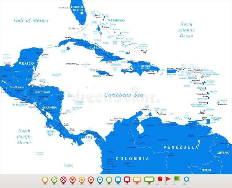 America Central - iconos del mapa y de la navegación - ejemplo stock de ilustración