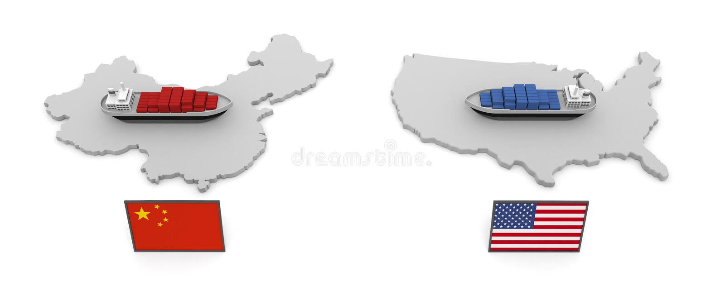 America China Trade Problem Tariff 3D illustration vector illustration