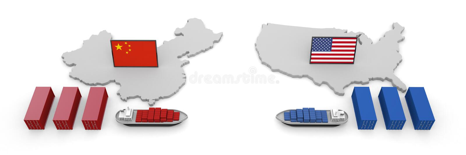 America China Trade Problem Tariff 3D illustration. US-China trade issues. Trade friction takes place. Difficult problem. USA map and flag. China map and flag royalty free illustration