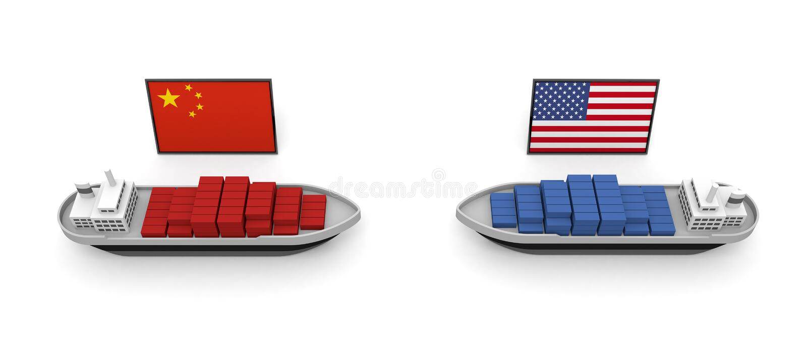 America China Trade Problem Tariff 3D illustration. US-China trade issues. Trade friction takes place. Difficult problem. USA map and flag. China map and flag stock illustration