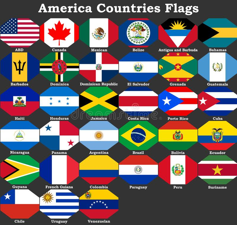 America Countries Flags, America stock illustration